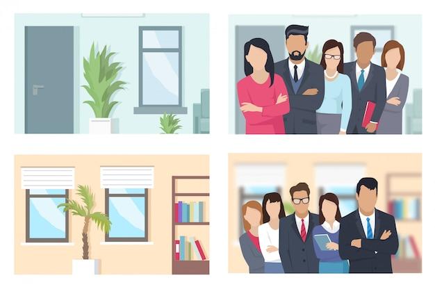 Geschäftsleute und büro-illustrationen eingestellt
