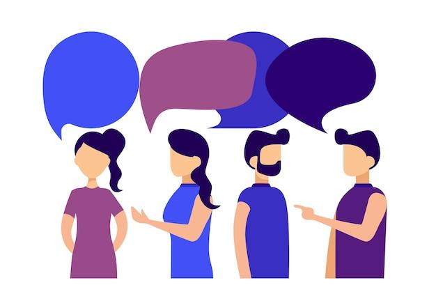 Geschäftsleute und geschäftsfrauen diskutieren soziale nachrichten