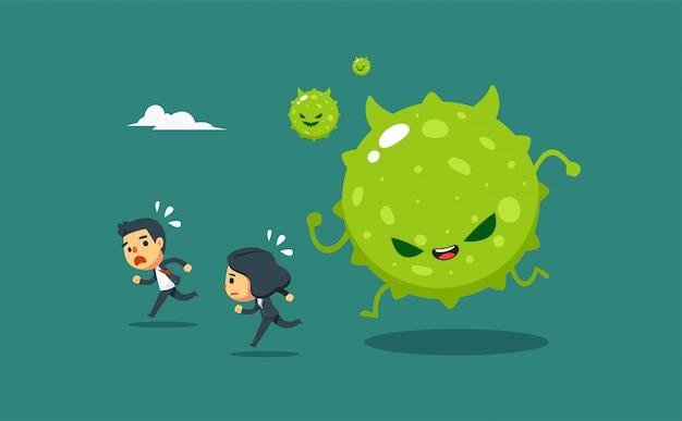 Geschäftsleute und geschäftsfrauen wurden vom grünen virus verfolgt.
