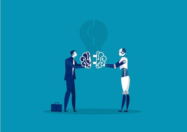 Geschäftsleute und roboter verbinden gehirnidee. illustration