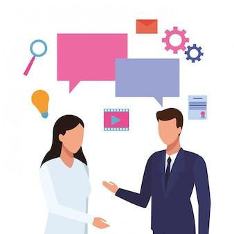 Geschäftsleute und soziale medien