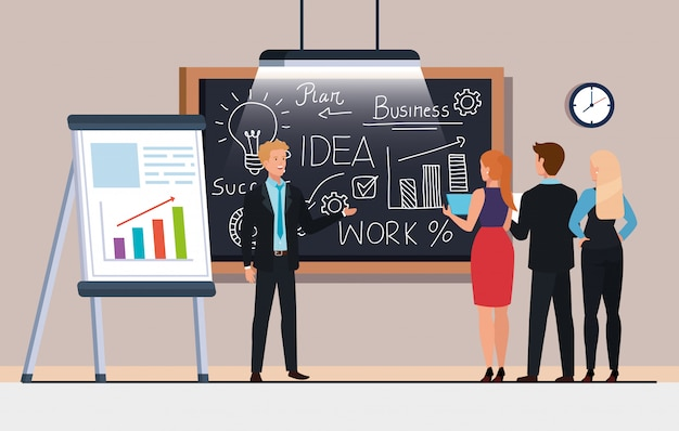 Geschäftsleute und tafel mit unternehmensplangraphiken