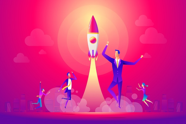 Geschäftsleute und team feiern ein erfolgreiches startup