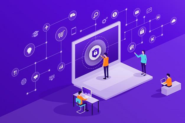 Geschäftsleute und teamarbeit und nutzen das internet