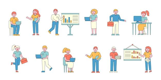 Geschäftsleute und unternehmerinnen flache ladegeräte festgelegt. geschäftsleute professionell.