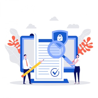 Geschäftsleute unterzeichneten vertragskonzept. charakter mit vertragsüberprüfung, unternehmensdokument, datenschutz, geschäftsbedingungen, datenschutzbestimmungen.