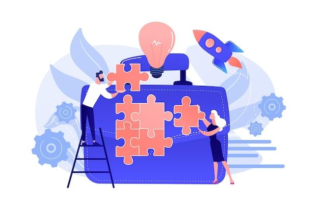 Geschäftsleute verbinden puzzleteile und riesige aktentasche mit glühbirne. geschäftstreffen und partnerschaft, machen sie ein geschäftskonzept auf weißem hintergrund.