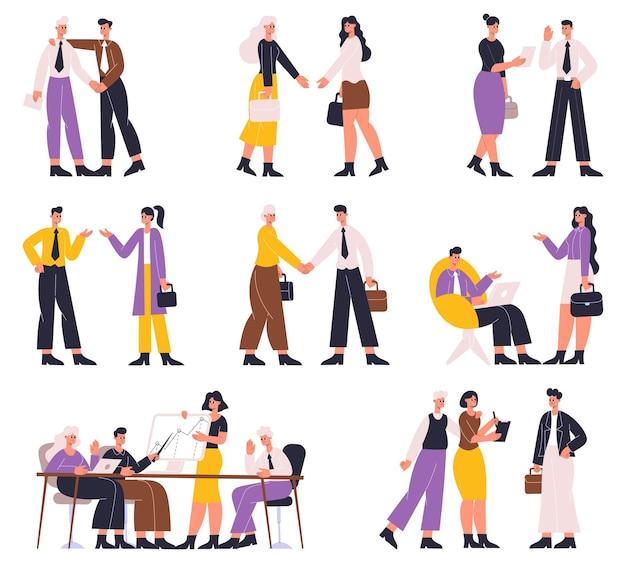 Geschäftsleute verhandeln, diskutieren, professionelle kommunikation, brainstorming. büroangestellte geschäftstreffen oder konferenzvektorillustrationssatz. formelle verhandlung
