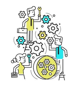 Geschäftsleute verwalten und reparieren maschinengetriebe wheel.flat linie design-elemente