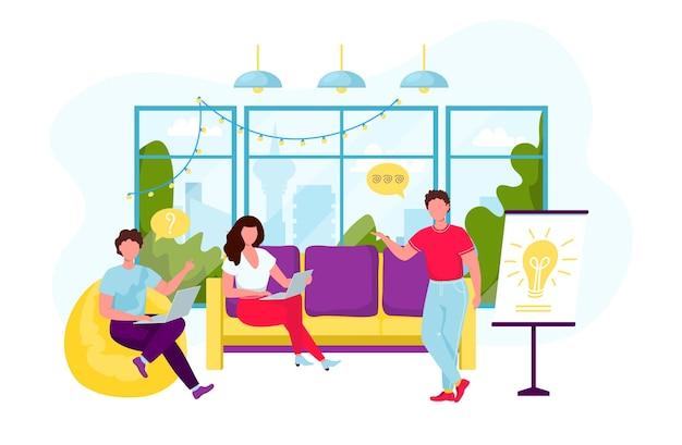 Geschäftsleute während des brainstormings. junger mann, der präsentation in der loungezone mit bequemen möbeln, großes fenster macht. menschen, die zusammenarbeiten. wohnung lokalisiert auf weißem hintergrund.