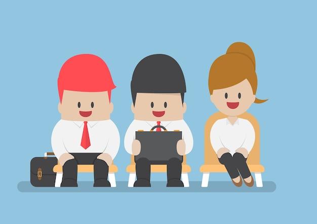 Geschäftsleute warten auf vorstellungsgespräch, rekrutierungskonzept