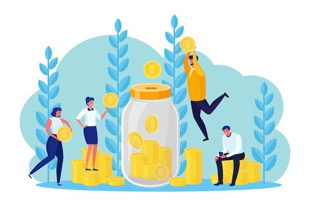 Geschäftsleute werfen goldmünzen in die sparbüchse