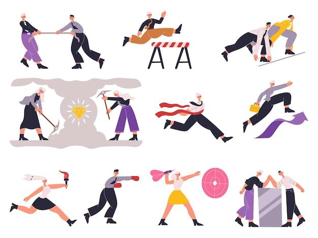 Geschäftsleute zeichnen professionellen karrierekampfwettbewerb aus. karriere-wettbewerb und job-motivation-vektor-illustration-set. männliche und weibliche konkurrierende geschäftsleute