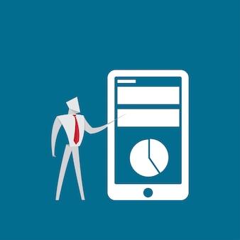 Geschäftsleute zeigen apps mobile finanzdiagrammorigamipapierart