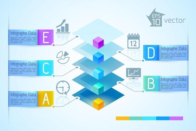 Geschäftslicht-infografiken mit der bunten 3d quadratischen pyramide fünf bandtextfahnen und -ikonenillustration
