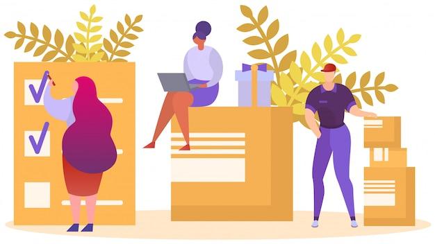 Geschäftslieferungskonzept, illustration. online-bestellung paket, menschen in der nähe von großen paketbox, schneller versand store service.
