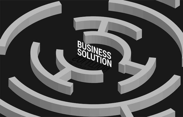 Geschäftslösung im zentrum des labyrinths. geschäftskonzept für problemlösungs- und marketinglösungsstrategie