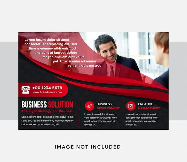 Geschäftslösungsflyer mit abstraktem kurvenelement. horizontales layout mit schwarzem hintergrund und rotem elementdesign. transparenzquadratmuster. platz für foto oder bild oben.