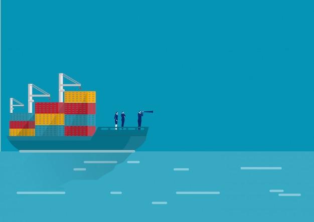 Geschäftslogistik mit seefrachttransportbehälter im hafenvektor.
