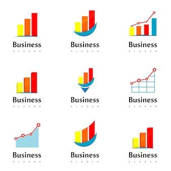 Geschäftslogo mit diagrammdiagramm für guten fortschritt
