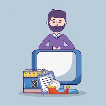 Geschäftslokalangestellter-arbeitsplatzkarikatur