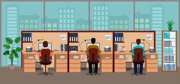 Geschäftslokalinnenraum mit großem fenster und gruppe mitarbeitern beschäftigt mit arbeit. arbeitsplatz .
