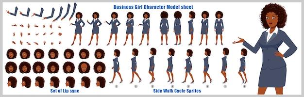 Geschäftsmädchen charakter-modellblatt mit laufzyklusanimationen und lippensynchronisierung