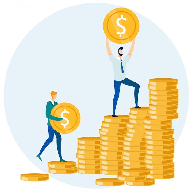 Geschäftsmänner, die geld-münzen in stapel-karikatur einsetzen