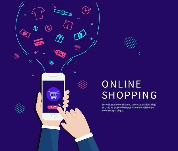 Geschäftsmänner, die online mit smartphone kaufen.
