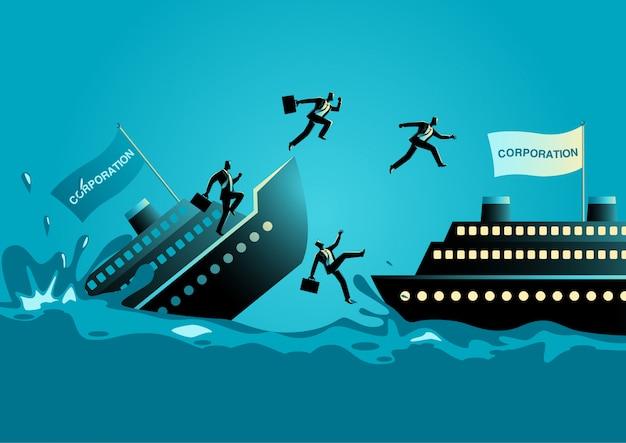 Geschäftsmänner geben sinkendes schiff auf