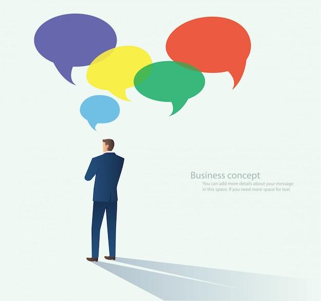 Geschäftsmänner mit chat-blasenvektor