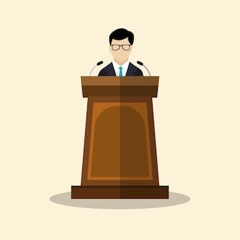 Geschäftsmänner mit podium flaches grafikdesign