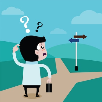 Geschäftsmänner wählen zukunft einen weg, vektorkarikatur