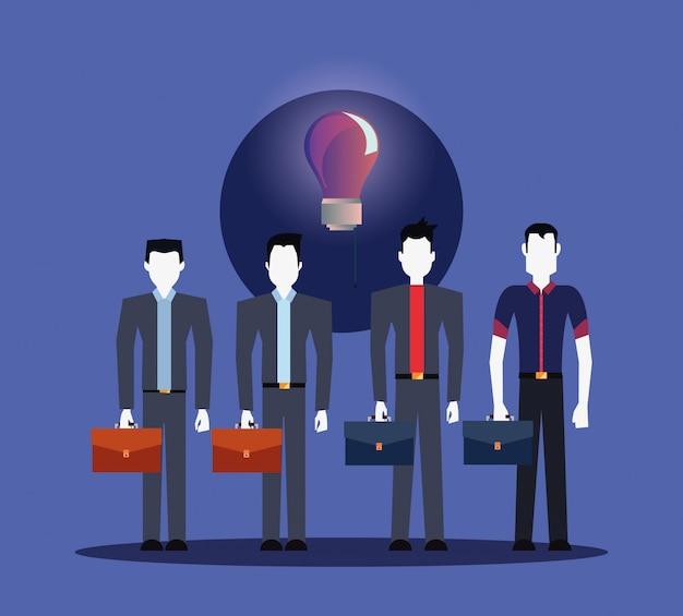 Geschäftsmännergruppe mit geschäftsaktenkoffer-birnenidee
