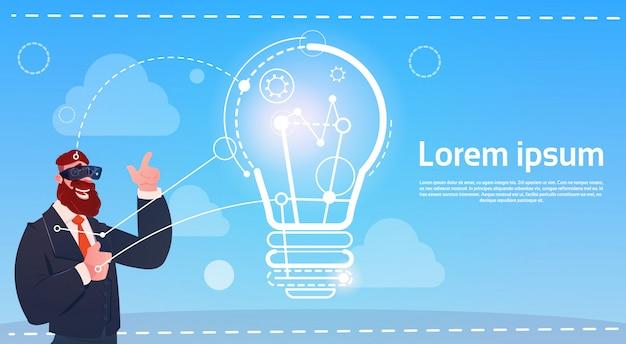 Geschäftsmann-abnutzungs-digital-wirklichkeits-glas-neues ideen-startkonzept