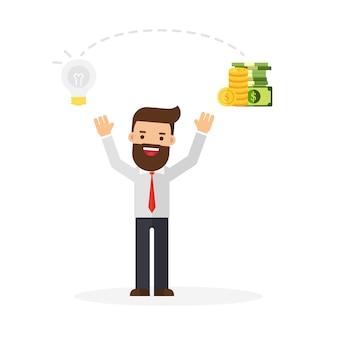 Geschäftsmann ändern ideen in geld