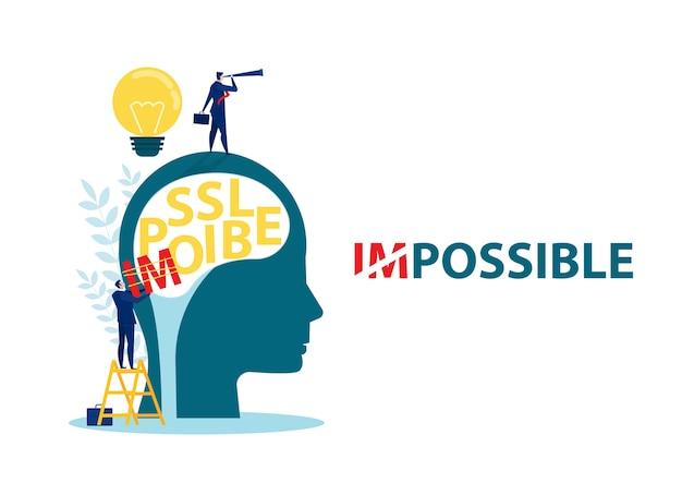 Geschäftsmann ändern unmöglich zu möglichem text auf menschlichem kopf, geschäft, erfolg, herausforderung, motivation, leistung und möglichem konzept.