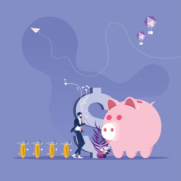 Geschäftsmann als charmeur von ratten beschwören geld zum sparschwein - sparen sie geldkonzept