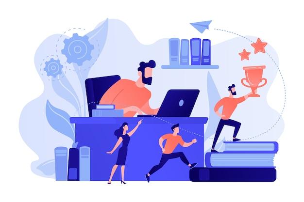 Geschäftsmann am laptop und anführer läuft auf bücher mit trophäe und seinem team. unternehmensführung, managementfähigkeiten, konzept des führungskräftetrainingsplans. isolierte illustration des rosa korallenblauvektors