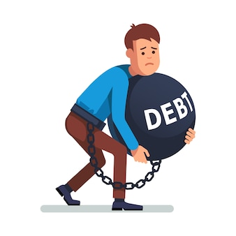 Geschäftsmann an schulden angekettet