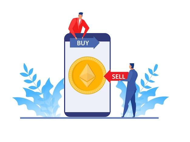 Geschäftsmann analyse börse auf laptop, kauf- und verkaufspreis ethereum-münze. flaches vektorillustrationskonzeptdesign.