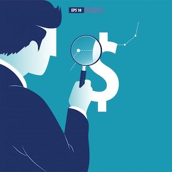 Geschäftsmann analysiert trends in währungsänderungen.