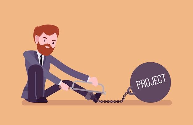 Geschäftsmann angekettet mit einem metallgewicht projekt, sägend
