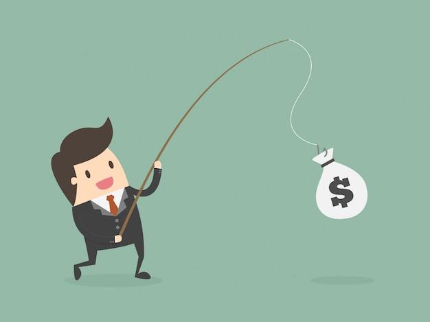 Geschäftsmann angeln geld