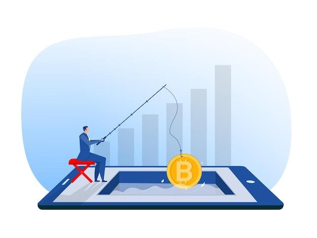 Geschäftsmann angelrute ein riesiges konzept für bitcoin-mining-wachstumsvermögen