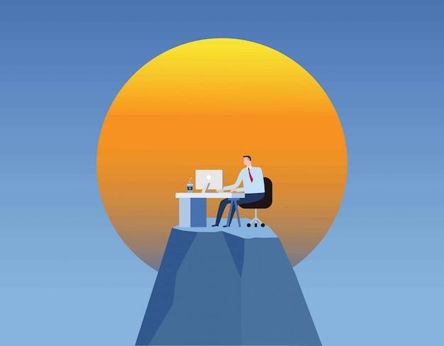 Geschäftsmann arbeiten mann für lange stunden im büro bleiben