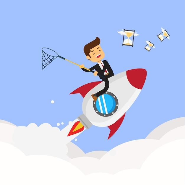 Geschäftsmann auf der rakete, die fliegende sanduhr jagt