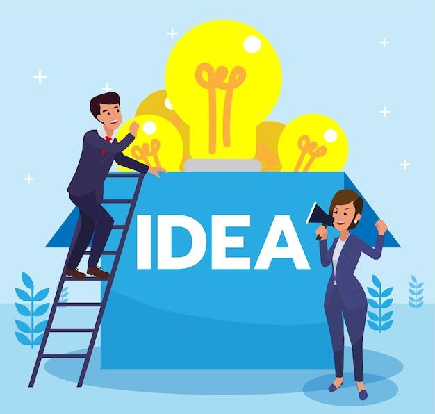 Geschäftsmann auf der suche nach einer kreativen idee, die von seinem chef inspiriert wurde. geschäftsmann klettert, um eine idee über der box zu finden. flache designvektorillustration