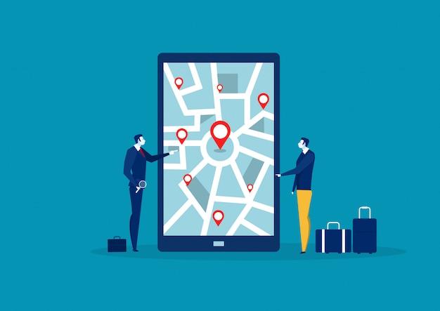 Geschäftsmann auf der suche nach standort auf handy map.vector