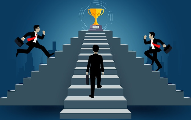 Geschäftsmann auf der treppe gelaufen gehen zum ziel. ziel, sieg zum erfolg konzept mit idee. führungskonzept. leiter zum erfolgsgeschäft. cartoon-vektor-illustration